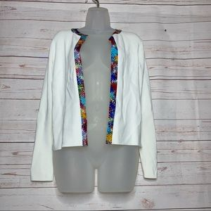 Due Per Due White Open Front Cardigan Size PS